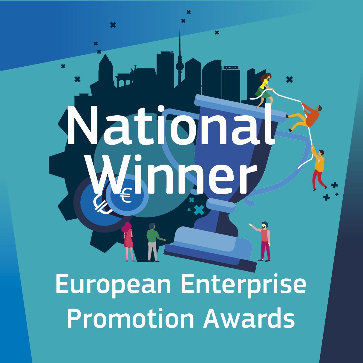 "Plakette mit Auszeichnung ""National Winner"" beim European Enterprise Promotion Award."